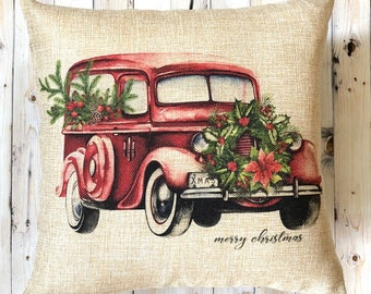 Vintage Christmas Pillow - Holiday Decoration - Decorative Pillow - Farmhouse Pillow - Christmas Decoration - Gift for Her - Christmas Decor
