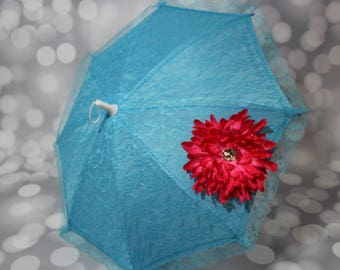 Girls Blue Sun Parasol - Lace Umbrella - Blue Parasol with Dark Pink Flower - Flower Girl Parasol - Tea Party Sun Shade - Photo Prop - 17005