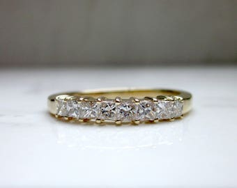 Vintage .80 Total Carat Weight Princess Cut 14k Yellow Gold Straight Wedding Band, Size 9