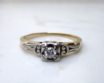 Antique Art Deco 14k Solid Yellow Gold and White Gold Solitaire Diamond Engagement Ring, Size 7