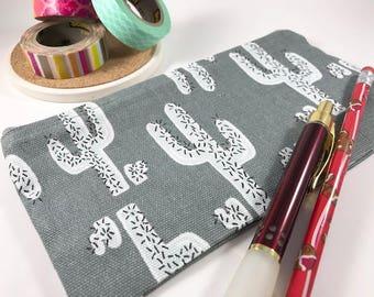 Cactus Zippered Pouch, Pencil Case, Pencil Pouch, Journal Accessory Bag