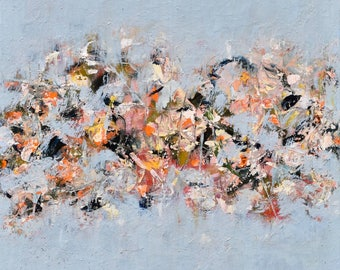 Abstract Painting Flower Painting Oil Botanic garland bouquet floral  Blue gray navy orange blush  16x16 A Dash of Hope
