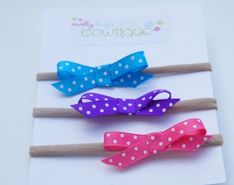 Trio of Polka Dot bitty boutique Bows in Pink, Blue and Purple on CLIPS or HEADBANDS
