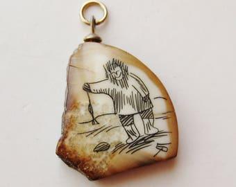 Vintage Carved Alaska Northwest Coast Inuit Scrimshaw Necklace Pendant