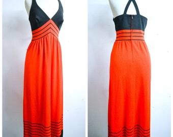 1970s Red orange black stripe halterneck crepe maxi evening dress / 70s does 30s cross strap back full length dress - M
