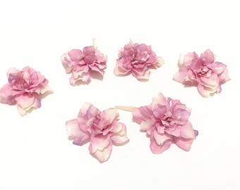 6 PINK Artificial Delphinium Blossoms - ALMOST 2.75 Inches - Artificial Flowers, Silk Flowers, Flower Crown, DIY Wedding, Hair Accessories