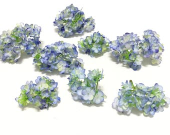 One Lot Artificial Periwinkle SNOWBALL Flower Clusters - Flower Crown, Wedding Flowers,, Artificial Flowers, Silk Flowers, Millinery, Hat