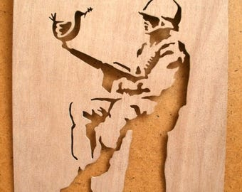Banksy Soldier With Dove Stencil