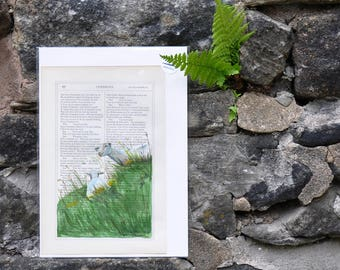 Sheep, Highlands - Original Watercolor Painting on Book page - 7x10 in