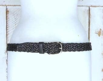 Vintage 90s woven brown leather silver buckle belt/boho/hippie skinny leather boho belt/large