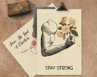 Stay Strong Handmade Seeded Paper Card.