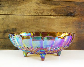 Harvest Carnival Oval Center Bowl from Indiana Glass / Large Iridescent Footed Fruit Bowl