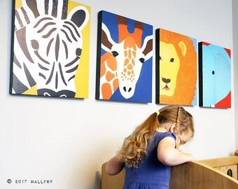 Nursery decor, SET OF ANY 4 safari animal canvas wrap series. African animal zoo animal canvas wall art for kids. Safari series by WallFry.