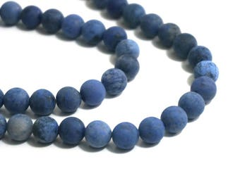 Matte Blue Dumortierite Beads, 8mm round gemstone bead, full & half strands available   (986S)