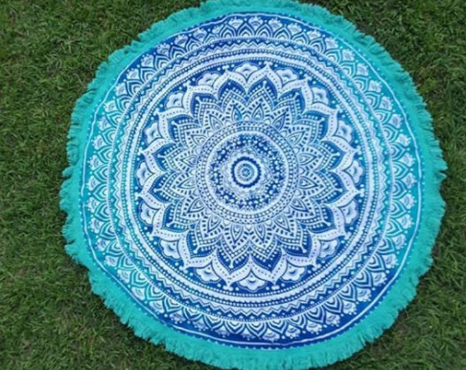 Turquoise and Blue Mandala Roundie with Turquoise Fringe Mandala Tapestry Beach Blanket Yoga Mat Meditation Mat Dorm Decor Hippie Tapestry