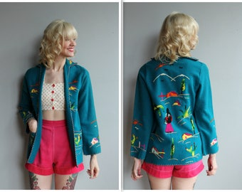 1950s Jacket // Mexican Wool Embroidered Tourist Jacket // vintage 50s jacket