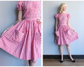 1950s Dress Set // Barn Dance Gingham Blouse & Skirt //