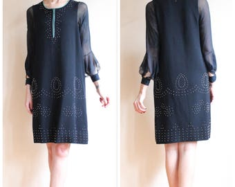 1920s Dress // Deco Studded Wool Dress // vintage 20s dress