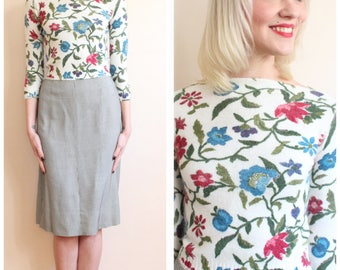 1960s Sweater // Blue Bird Floral Orlon Sweater // vintage 60s sweater