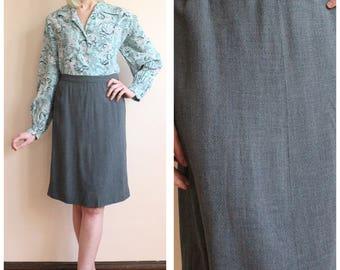 1940s Skirt // Stone Grey Gabardine Skirt // vintage 40s skirt
