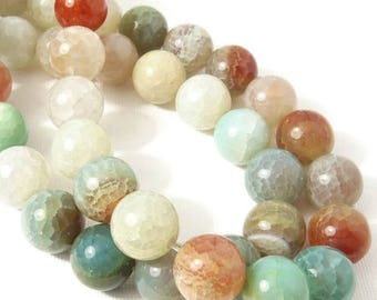 Fired Crackle Agate, 14mm, Light Blue-Green/White/Brown, Pastel, Round, Smooth, 14mm, Large, Gemstone Beads, 15 Inch Strand - ID 2360