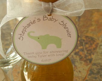 "50 Baby Shower Custom 2"" Thank You Favor Tags - for Mini Wine or Champagne Bottles - Mason Jar Gift Favors - Party Favors - elephant graphic"