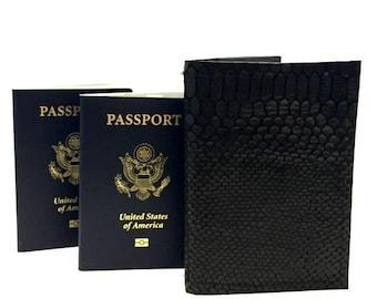 ON SALE RFID Passport Cover / Black Rfid Leather Passport Cover / Double Passport Cover / Rfid Leather Passport Holder / Leather Passport Wa