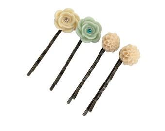 Get 15% OFF - Handmade Hair Pins - Resin Flower Hair Pins - Antique Bronze Hair Pins - Labor Day SALE 2017