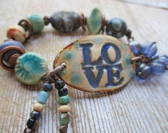 Ceramic Beaded Bracelet Funky Boho Bracelet Hippy Free people style