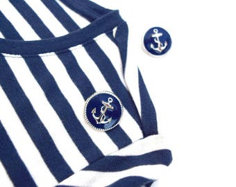 Anchor stud earrings vintage navy blue silver metal sailing post earrings nautical accessories beach summer costume jewelry gift for her