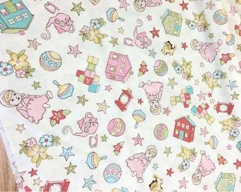 Riley Blake Vintage Baby Cotton Fabric 1 3/4 yards