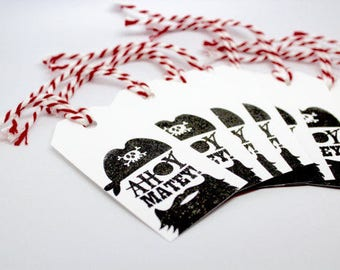 WHITE PIRATE Tags - Qty 12 - 3 1/4 x 1 5/8 - Gift Wrapping - Favor Packaging - Pirate party - Pirate Birthday - Ahoy Matey