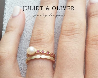 Pearl And Ruby Ring - Ruby Wedding Band - Pearl And Ruby Wedding Band - Pearl And Ruby Wedding Set - Ruby Eternity Rings - Ruby Wedding Ring