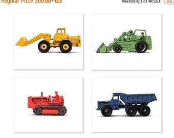 FLASH SALE til MIDNIGHT Set of Four Construction Digger Photo Prints in Primary Colors on White, Boys Room decor, Construction Trucks