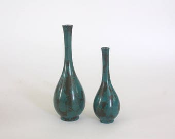 Pair of Mid Century Turquoise and Black Metal Vases from Japan