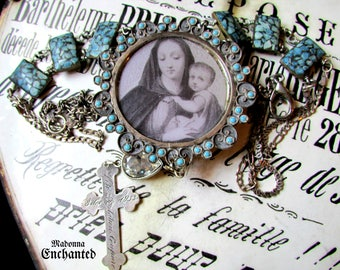 HOLD for S Madonna Enchanted turquoise necklace religious mosaic vintage sterling saint catholic statement multi strand jewelry assemblage