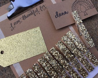 i am thankful for clipboard place setting gold glitter