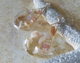 Seashell Teardrop Earrings - Clear Resin Earrings with Mother of Pearl Shells