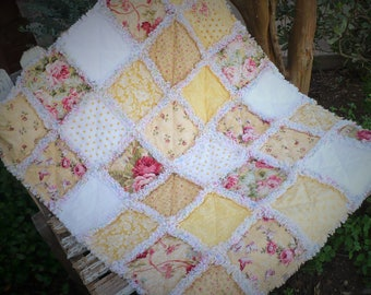 Baby Girl Rag Quilt Shabby Chic Crib Quilt Baby Girl Nursery Bedding Cottage Chic Floral Pink Roses on Yellow Ready to Ship