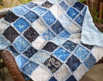 Christmas Rag Quilt Christmas Throw Quilt Winter Holiday Quilt Snowflakes Ice Snow Blue White Silver Glitz Batik Gift Lap Quilt Ready 2 Ship