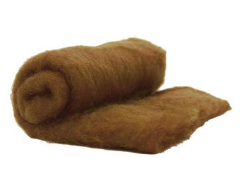 Carded Fiber Batt - Perendale Wool - Sienna - 7 oz