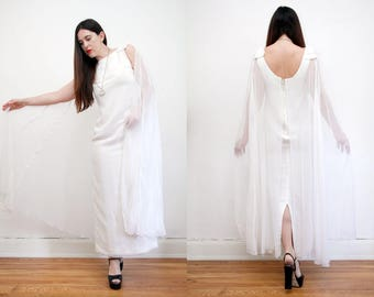 Vintage White Grecian Cape Bohemian Caftan Kaftan Dress Angel Wing Wedding Dress