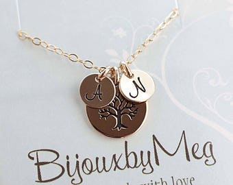 Special Listing for Molly! TREE Necklace with 1 Initial Charm (B), and Sideways Cross Charm on Chain. Thank you so much :)