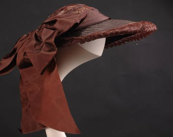 Brown Straw and Lace Picture Hat, 1950's