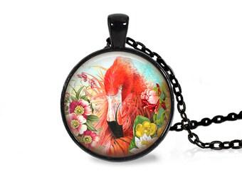 """25mm Famingo w/ Flowers Art Cabochon Black 18"""" Necklace"""