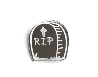 FLASH SALE Silver Acrylic Rip Gravestone Brooch