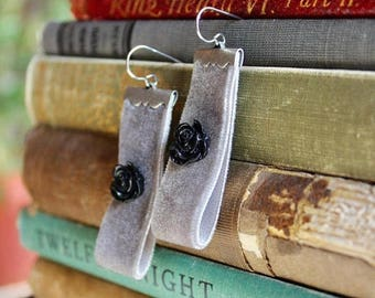 30% OFF Pewter grey velvet earrings with jet black rose cabochons, Hidden Alcove