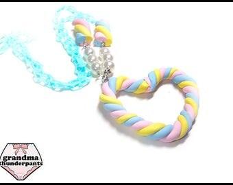 I LOVE Marshmallows Necklace, Handmade Pastel Fairy Kei, Decora