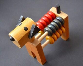 Antonio Vitali Kurt Kaef era Vintage Antique Original Stylized Art Deco Swiss Hard Wood Toy Animal Cubistic DOG Abacus Hand-made Collectible