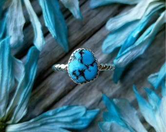 Sleeping Beauty Turquoise Ring Sterling Silver Size 4 Blue Stone Nugget Gemstone 925 Jewelry Arizona USA Mined December Birthstone